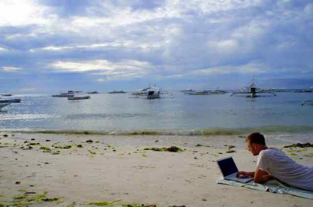 Blogging at Alona Beach, the Philippines