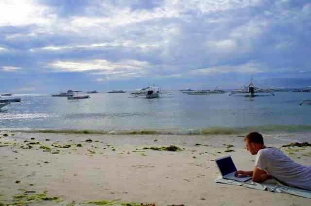 Blogging at Alona Beach, the Philippines