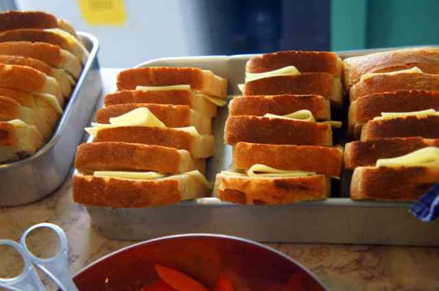 Cheese and tomato toasts - always warm and crunchy.