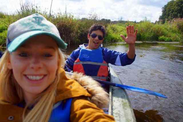 Having fun canoeing