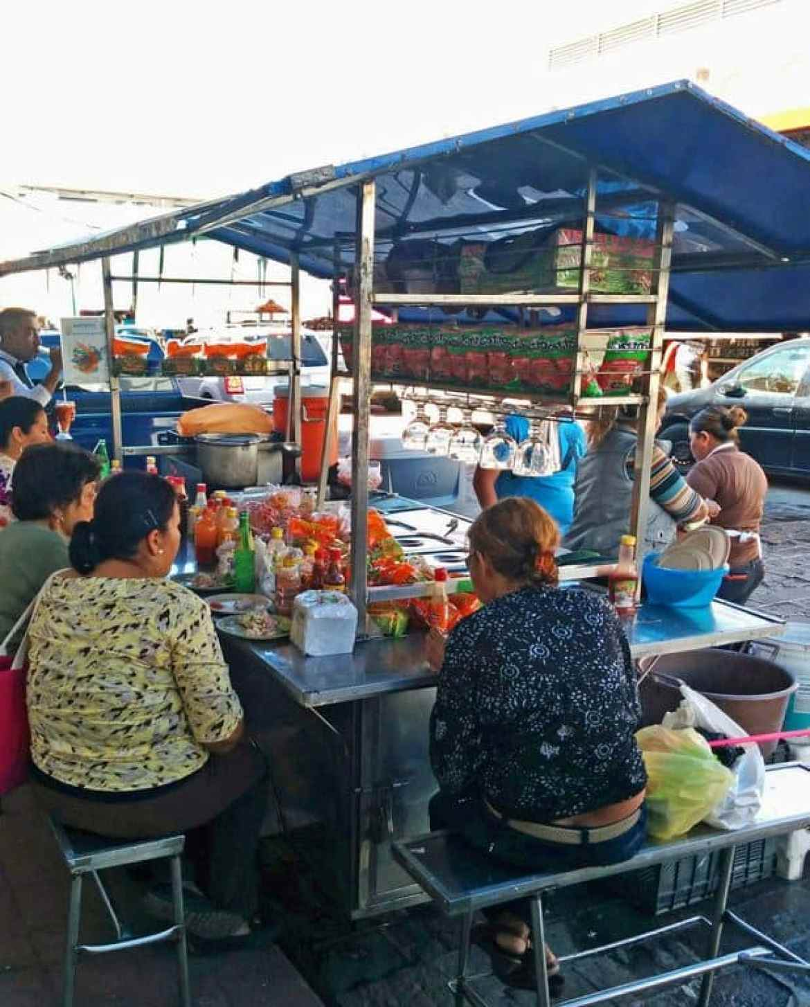 Busy Street Food Stand in Mazatlan