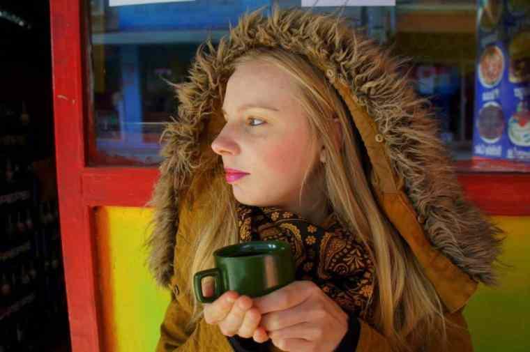 Drinking bulletproof coffee in Kathmandu.