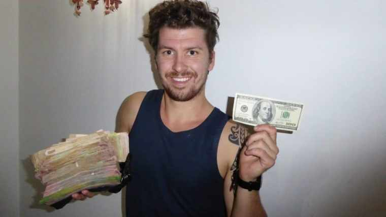 After changing cash in Merida - 100 bucks worth of local currency.