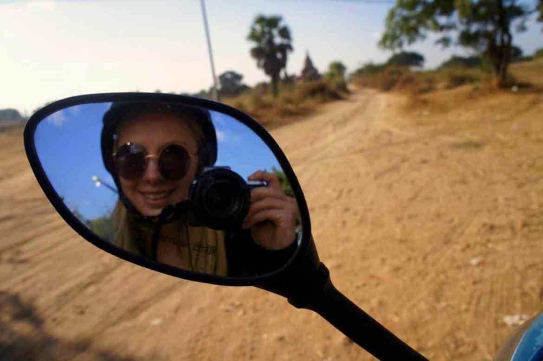 Riding an e-bike in Bagan