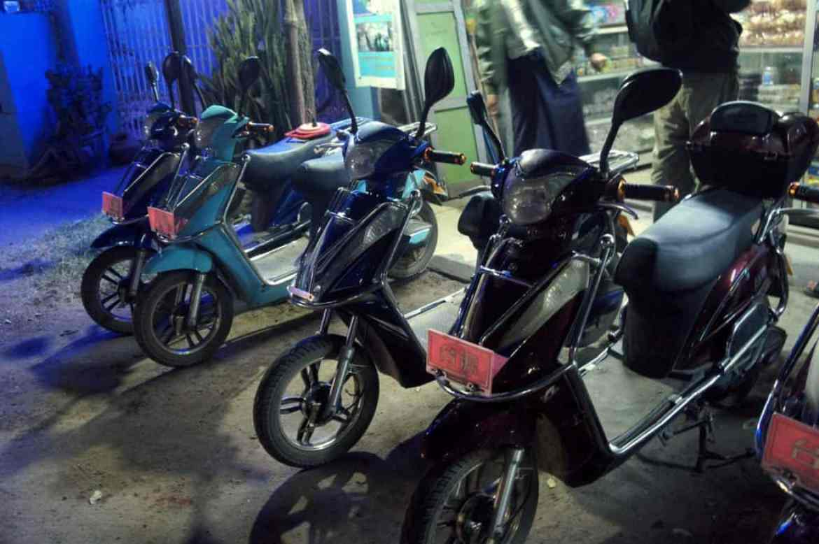 e-bike rental shop in Bagan