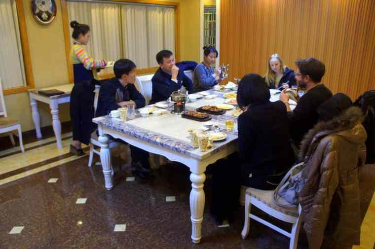 Dinner with guides in North Korea