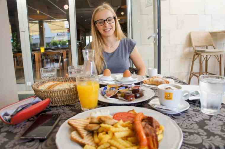 Enjoying breakfast at Hotel Grace