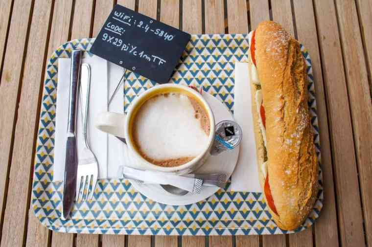 Baguette and coffee at Natural Fresh Food in Brussels