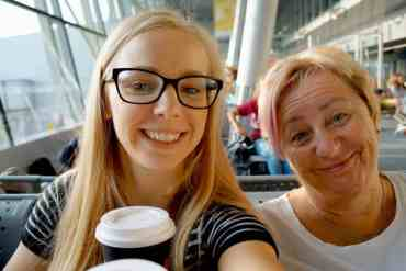 Daughter and mother with coffee
