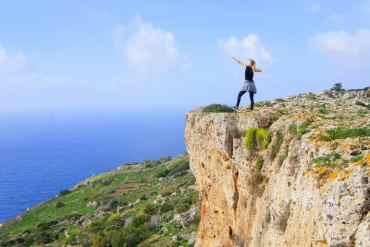 Agness on a cliff in Malta