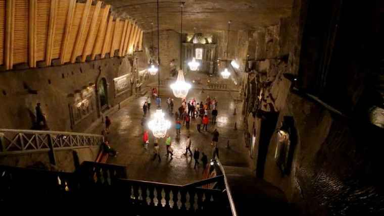 In the chapel of the salt mine – almost entirely carved out of salt