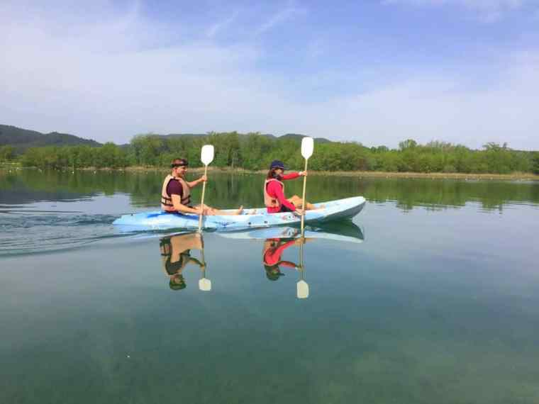 Cez and Lydia in a kayak made for two