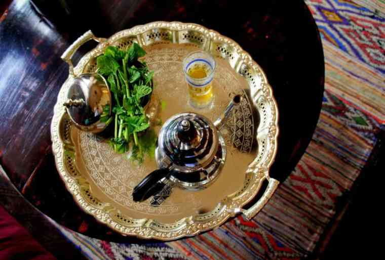 A traditional Moroccan mint tea is about to be served.