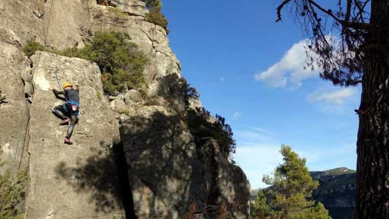 An example of top rope climbing on our Siurana climbing trip to Spain