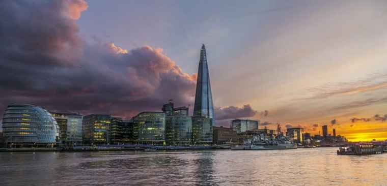 View of the Shard in Southwark, London, from the river.