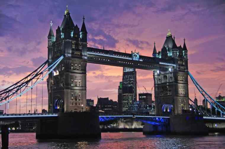 Tower Bridge in London at sunset.