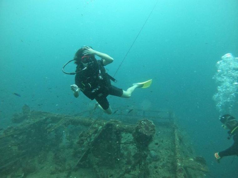Lydia underwater