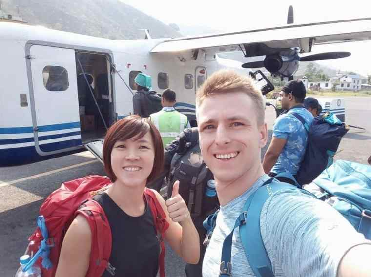 Cez and Lydia about to board the plane to Lukla Airport