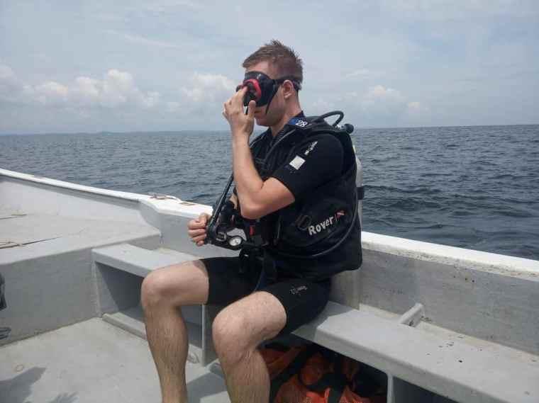Cez in his scuba diving gear