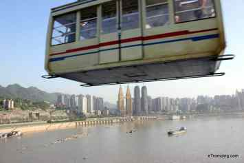 Cable car in Chongqing running across Yangtze river