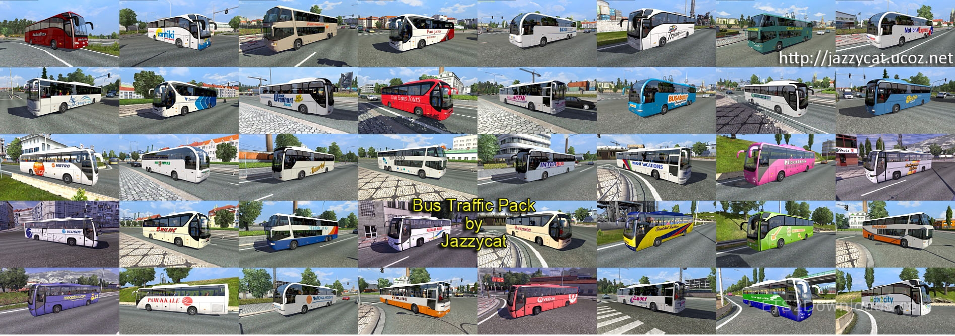 Bus Traffic Pack by Jazzycat v4 1 - ETS2 Mods