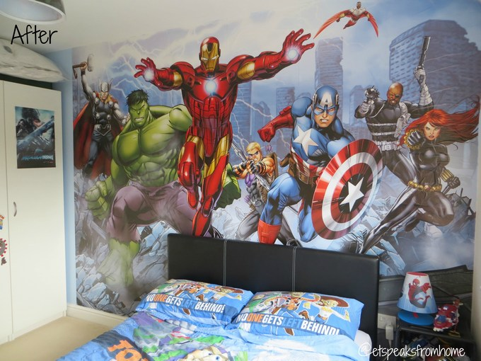 Dulux avengers assemble mural review et speaks from home for Avengers wall mural uk