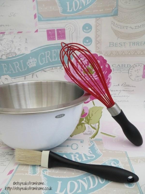 OXO Stainless bowl, whisk, brush