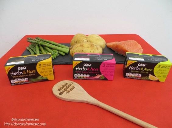 herby salmon fillet ingredients #OXOherbsandmore