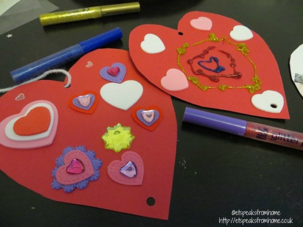 hanging hearts with bostik glitter pens