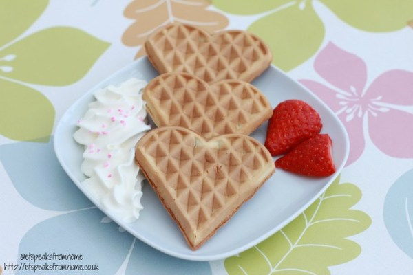 heart waffle with cream