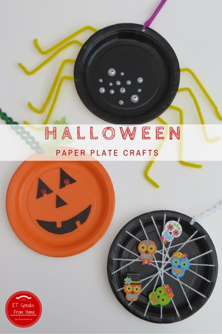 halloween paper plate crafts spider pumpkin web