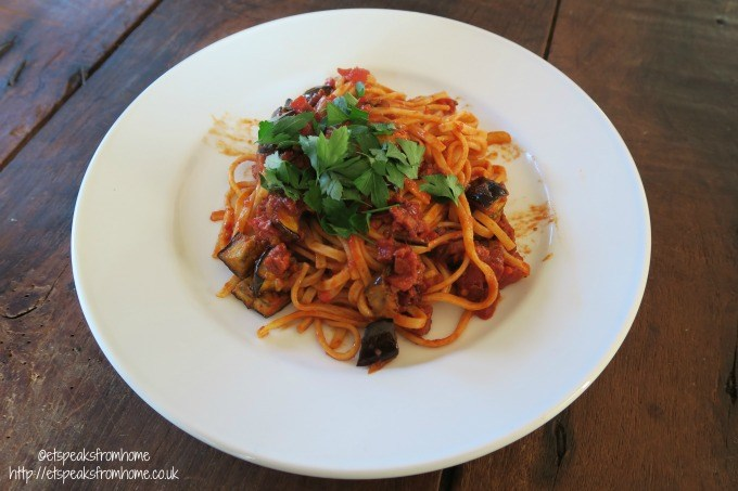 gilled aubergine spaghetti with chilli, chorizo and Sun Dried tomato