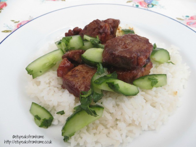 hello fresh Hoisin duck with fragrant basmati rice, cucumber and coriander