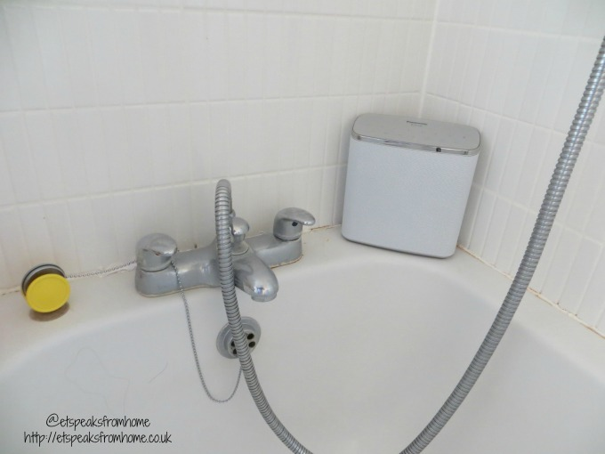 panasonice wireless speaker system in bathroom