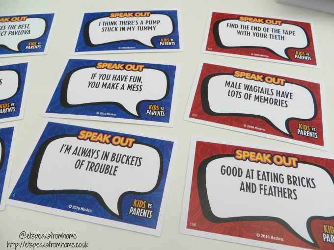 speak out kids vs parents game cards