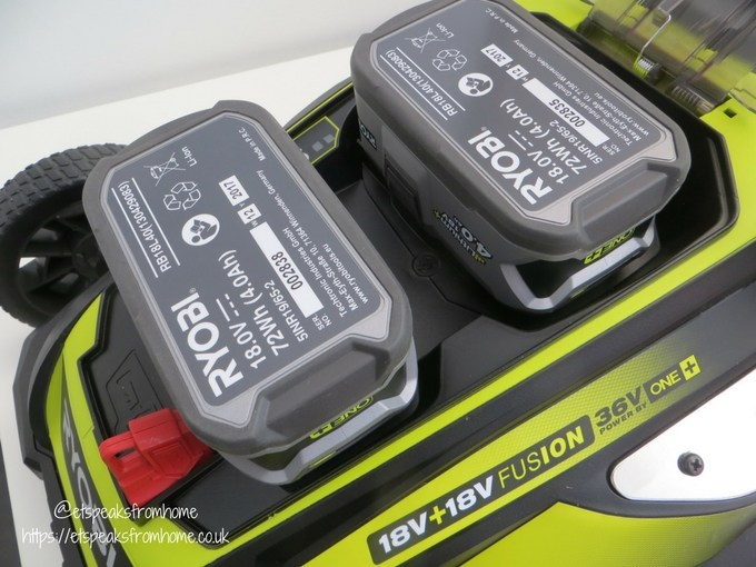 Ryobi 36V fusion lawnmower batteries