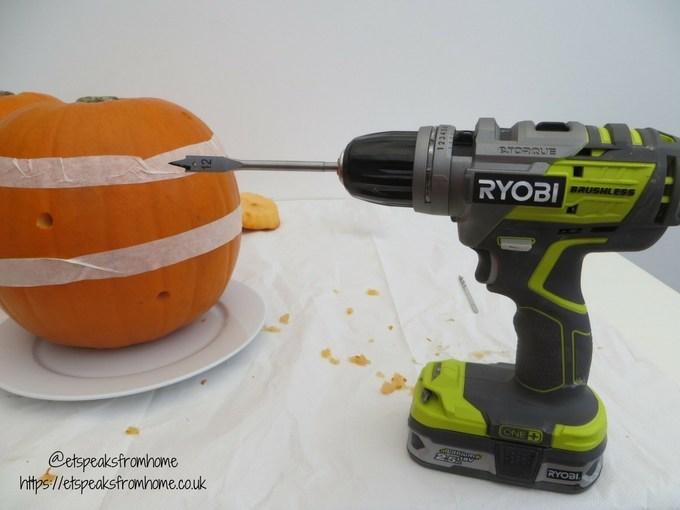 halloween pumpkin carving challenge - flower pumpkin using ryobi drill