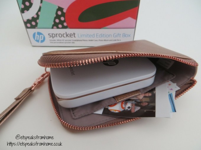 HP Sprocket Photo Printer rose gold wallet case