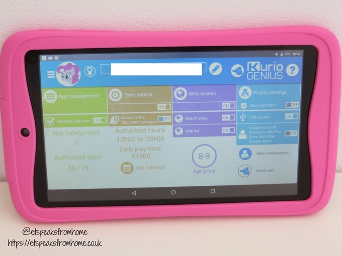 kurio tab advance setting