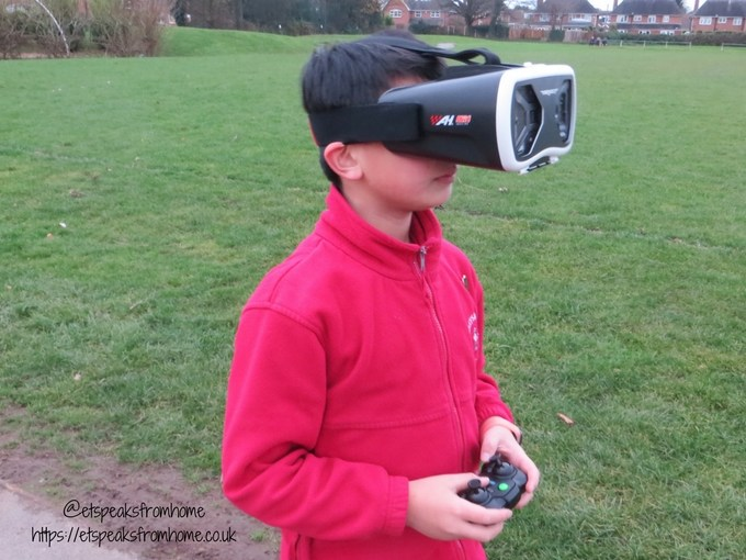 Air Hogs DR1 FPV Race Drone headset wearing