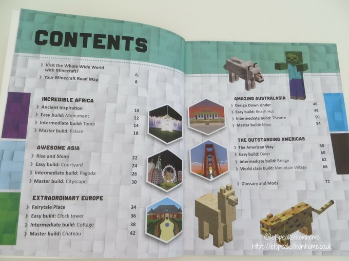 Minecraft Master Builder World Tour book content