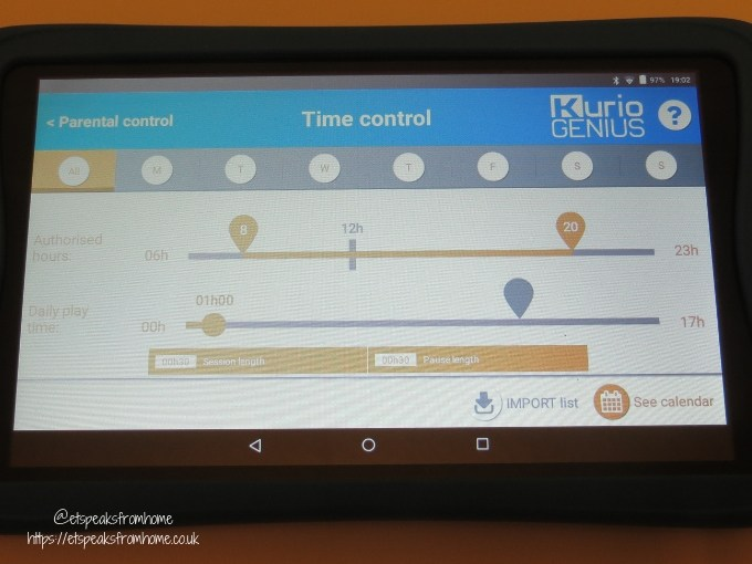 kurio tab connect time management