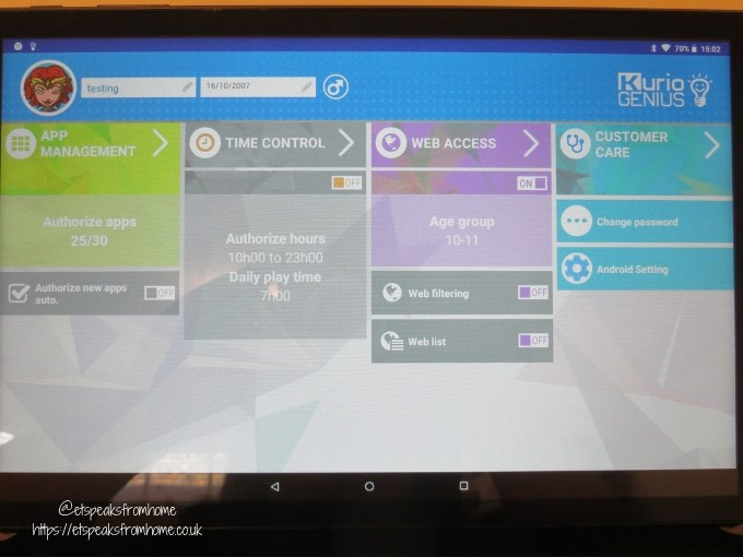 kurio smart 2 in 1 tablet parent management