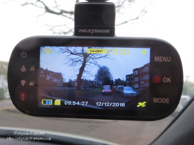 nextbase 512GW dash cam screen in car