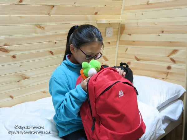 Alton Towers Resort Stargazing Pods millets backpack red unpack