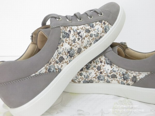 Hotter Chase Pebble Grey Floral side view