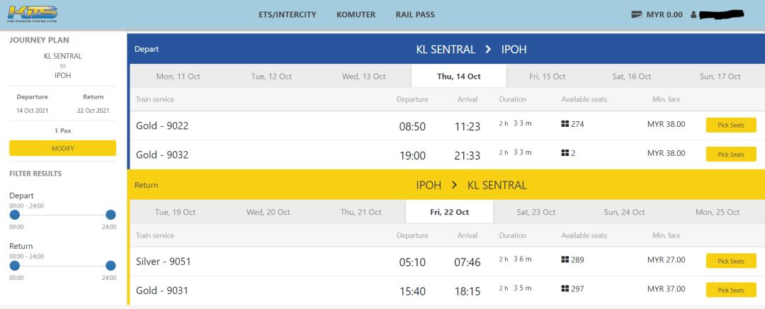 Select ETS train schedule online