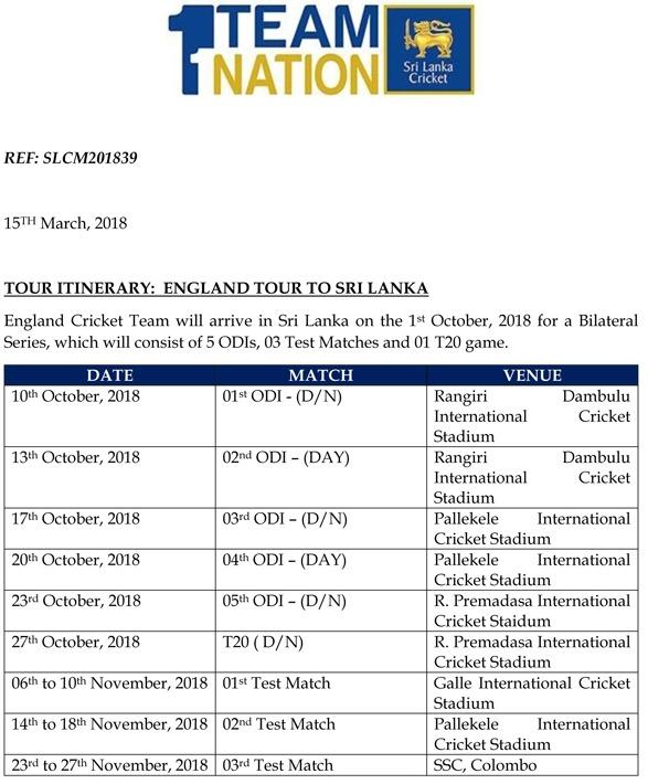 England tour to Sri Lanka - 2018 - Time Table