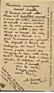 retro della cartolina che Gramsci firmò con Giulia Schucht e spedì alla sorella di lei Eugenia, il 16 ottobre 1922 a Mosca © Archivio Antonio Gramsci