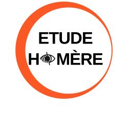 Logo Homère : cercle Orange vif avec texte en noir et gras. Le picto déficience visuelle remplace le O de Homère.